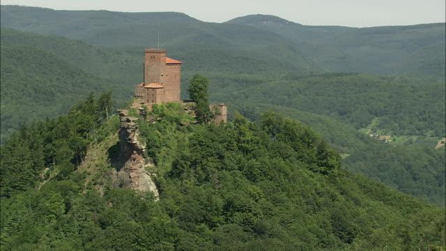 AERIAL Trifels Castle on hilltop, Annweiler, Rhineland, Germany