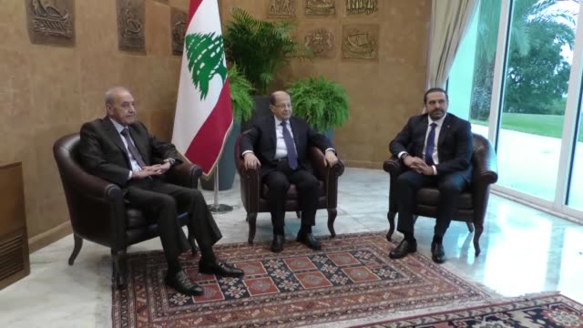 vídeos y material grabado en eventos de stock de trilateral meeting between lebanese president michel aoun prime minister saad hariri and the parliament speaker nabih berri took place on monday at... - prime minister