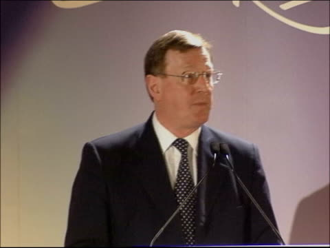 trimble message to republicans; utv - no resale northern ireland: armagh: int bv delegates applauding david trimble mp at ulster unionist party... - county armagh stock videos & royalty-free footage
