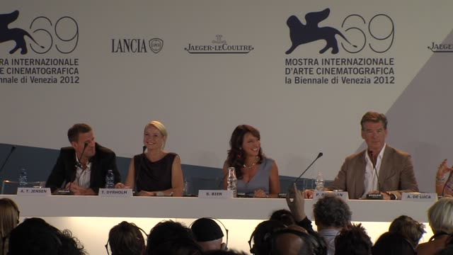 trine dyrholm on working with pierce brosnan at love is all you need press conference 69th venice film festival on 9/2/12 in venice italy - pierce brosnan stock videos and b-roll footage