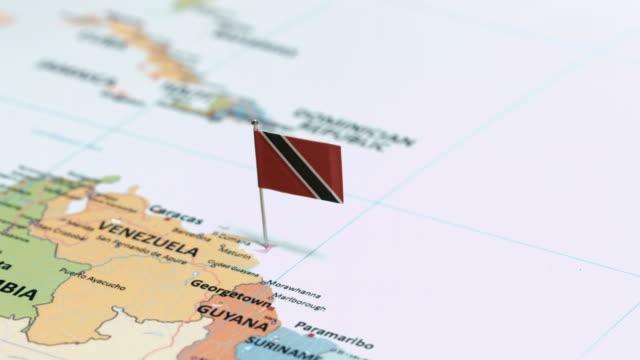 trinidad and tobago with national flag - trinidad trinidad and tobago stock videos & royalty-free footage