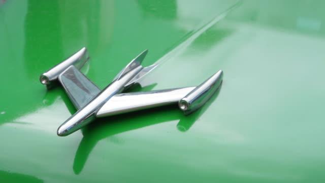 Trinidad Cuba close up detail of old 1950's Oldsmobile green car hood