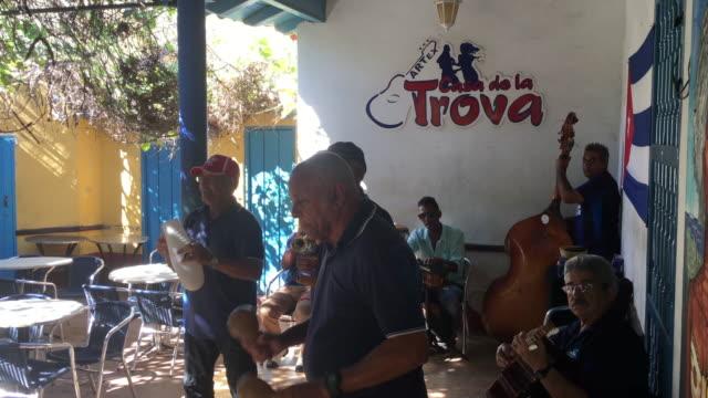 trinidad, cuba, musical group playing live at the 'casa de la trova' - audio available video stock e b–roll
