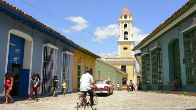 Trinidad Cuba old colonial city in South Cuba with cobblestone street and old Ford auto on street
