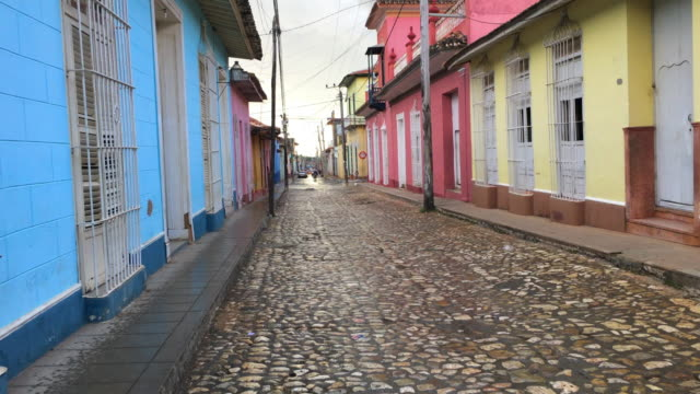 trinidad, cuba: the cobblestone streets in the unesco world heritage site - cobblestone stock videos & royalty-free footage