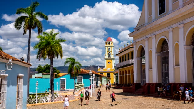 trinidad town square - cuba - cuba stock videos and b-roll footage