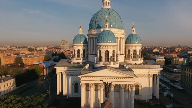 trinity-izmaylovsky cathedral and column of glory, st. petersburg, russia - russia stock videos & royalty-free footage