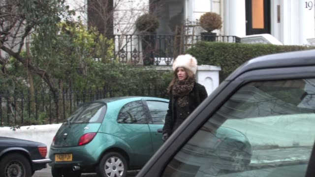 trinny woodhall returns to her car after dropping her child off at school in london's notting hill at the celebrity video sightings in london at... - school child stock videos & royalty-free footage