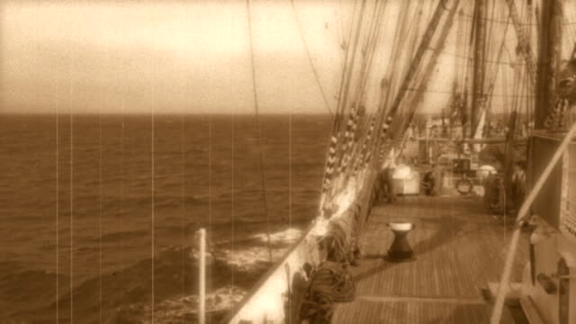 trip on a tall ship - stylized old movie - mast sailing stock videos & royalty-free footage