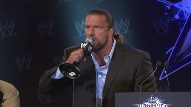 Triple H asks if the audience is ready for the upcoming WrestleMania at the WrestleMania 25th Anniversary Press Conference at New York NY