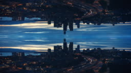 Trippy Aerial Hyperlapse of Cityscape Skyline Abstract Mirror Effect