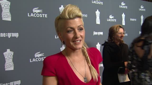 trish summerville on how she feels to be nominated what inspired her to create the costumes for girl with the dragon tattoo at 14th annual costume... - the girl with the dragon tattoo stock videos and b-roll footage