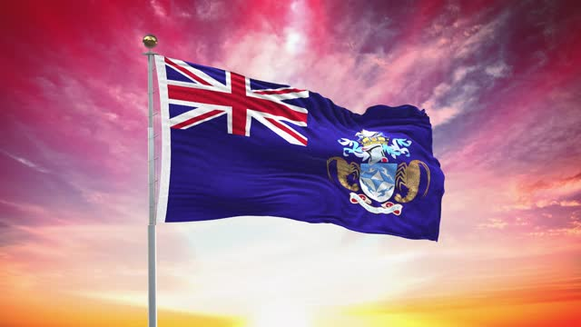 tristan da cunha island flag, loopable, included green screen chroma key version, waving in wind slow motion animation, 4k realistic fabric texture, continuous seamless loop background - atlantic islands stock videos & royalty-free footage