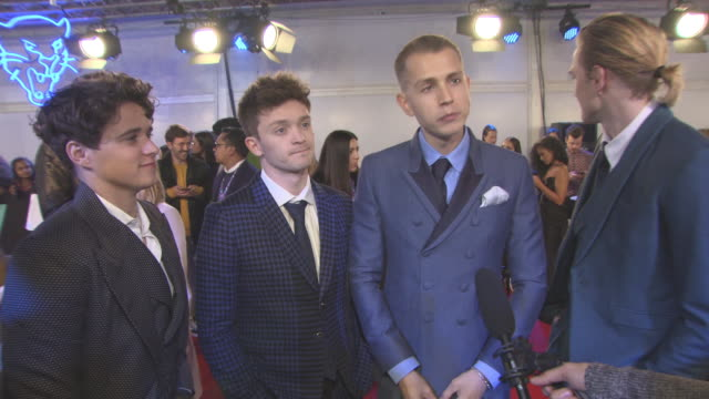 tristan evans, connor ball, bradley simpson, james mcvey, the vamps on who they want to see, uk music, relaxing at the awards at mtv ema awards at... - wembley arena stock videos & royalty-free footage