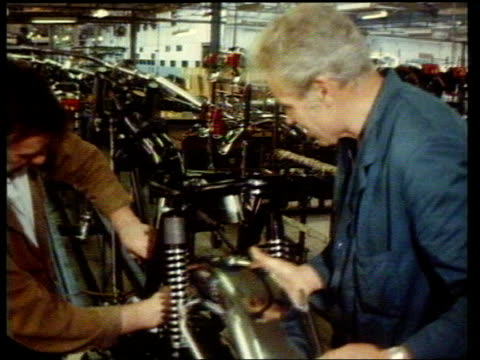 triumph bonneville motorcycle featured in film 'an officer and a gentleman' tx west midlands meriden triumph factory int interior shots of triumph... - west midlands stock videos & royalty-free footage