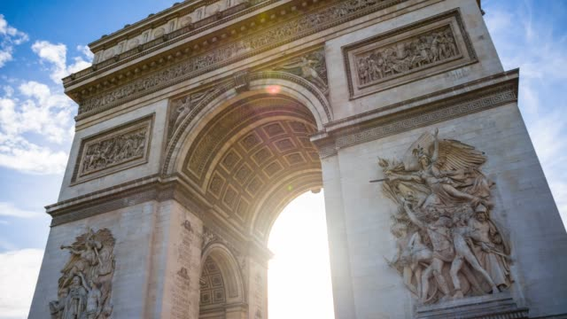 triumphal arch in the center of place charles de gaulle in paris - french revolution stock videos & royalty-free footage