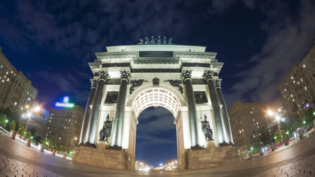 triumphal arch of moscow - triumphal arch stock videos & royalty-free footage