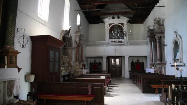 trogir, interior view of saint dominicus church - altar stock videos & royalty-free footage