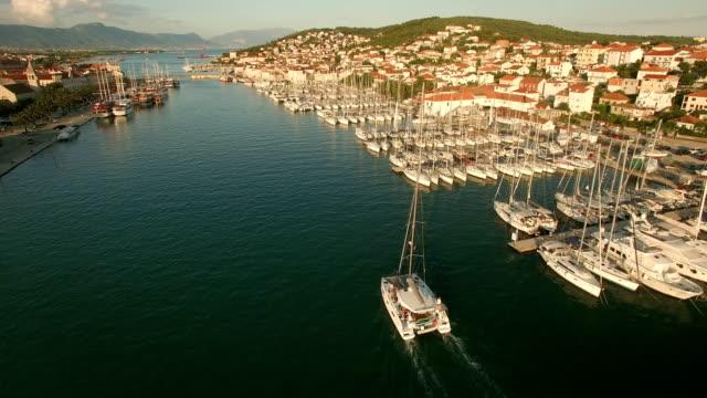 trogir marina sailing aerial shot - yachting stock videos and b-roll footage
