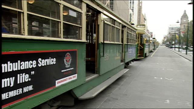trolley cars in melbourne australia - trolleybus stock-videos und b-roll-filmmaterial