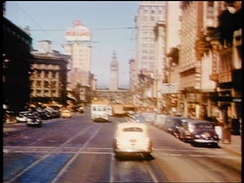1941 trolley point of view down Market Street towards Ferry Building / San Francisco / amateur industrial