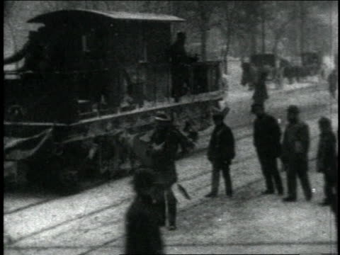 1904 ws trolley stopping and going, trolleys, carriages, and pedestrians, passing by / new york city, new york, united states - 1904 stock videos & royalty-free footage