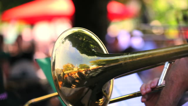 trombone player close-up - brass band stock videos & royalty-free footage