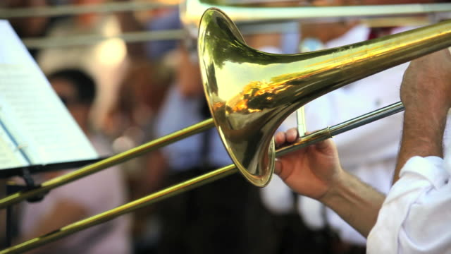 trombone players performing outdoor close-up - marching band stock videos & royalty-free footage
