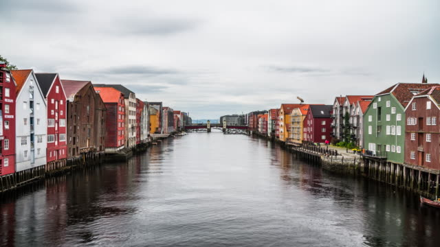 Trondheim old town with colourful buildings