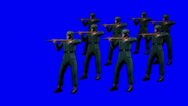 troop of soldiers shooting blue screen (loopable) - aiming stock videos and b-roll footage