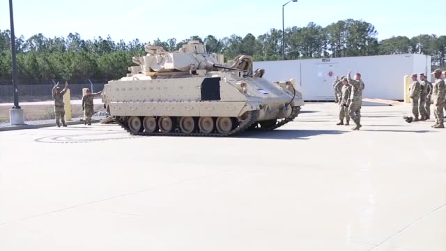 troopers of 6th squadron, 8th cavalry regiment, 2nd armored brigade combat team, 3rd infantry division, received their m3 cavalry fighting vehicles... - fort stewart stock videos & royalty-free footage