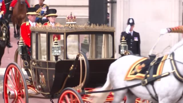 trooping the colour 2019: queen elizabeth leaving buckingham palace; **picture quality as incoming** england: london: buckingham palace: ext queen... - royalty stock videos & royalty-free footage