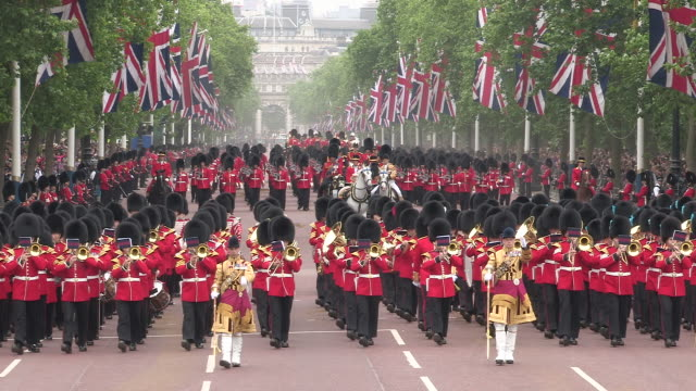trooping the colour at buckingham palace - queen's birthday stock videos & royalty-free footage