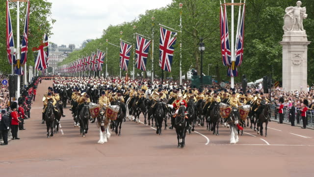 trooping the colour at buckingham palace - 近衛兵点の映像素材/bロール