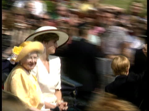 Trooping the colour b1300 London Princess of Wales wearing white suit with black trimmed wide brimmed hat along in carriage with Queen Mother and...