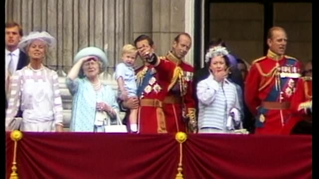 trooping the colour ceremony marks the queen's birthday as160684006 / 1661984 a young prince william wearing the same romper suit held by prince... - 1984 stock videos & royalty-free footage