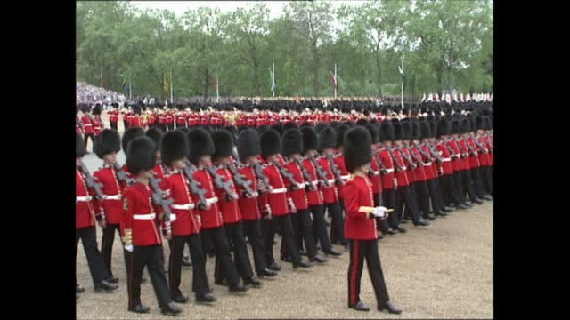 london: horse guards parade: ext **band playing various pieces of music including national anthem in background sot** gvs mass guards band playing &... - cavalry stock videos & royalty-free footage