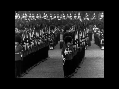 trooping the colour; england: london: horse guards parade: ext queen elizabeth ii and prince philip, duke of edinburgh ride r-l queen r-l queen... - prince edward, earl of wessex stock videos & royalty-free footage