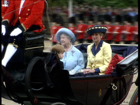 London Horseguards Parade LMS Queen Elizabeth II in open top coach LR MS Queen Mother with Princess of Wales and Prince Harry in open carriage RL...