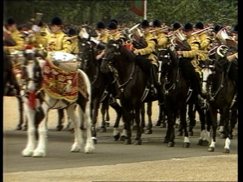 London Trooping ceremony Horseguards Parade Sefton Queen Mother Princess Michael of Kent Lord Frederick Windsor Zara Phillips Prince William Peter...