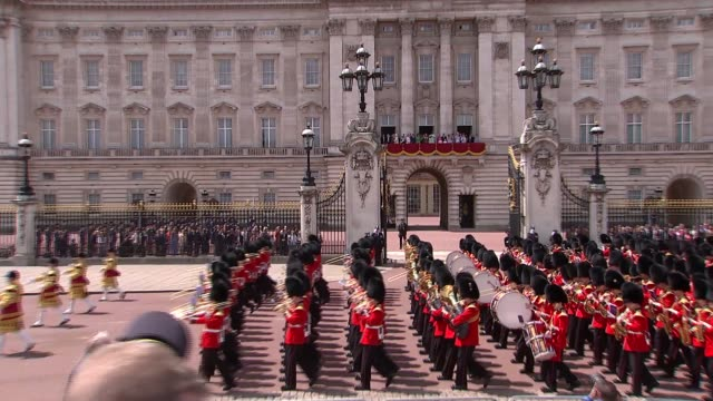 queen elizabeth and royal family watch flypast from buckingham palace balcony uk london members of the royal family look on from buckingham palace... - princess michael of kent stock videos and b-roll footage