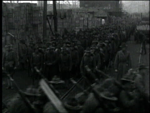 wwi troops carrying rifles march in formation / france - 1918 stock videos and b-roll footage