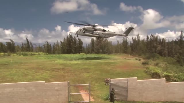 troops from canada and the united states are inserted into the kahuku training area via ch53 super stallions during an exercise to secure an embassy... - kahuku stock videos & royalty-free footage