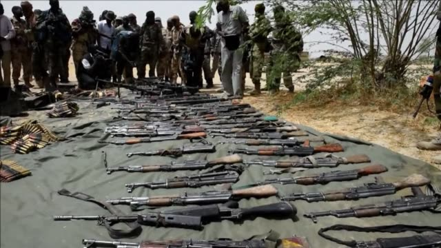 troops from chad and niger continue their battle against boko haram in nigeria having seized weapons from members of the islamist movement from their... - weaponry stock videos & royalty-free footage