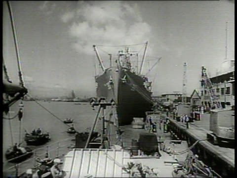 us troops load supplies and munitions aboard a ship set to leave shanghai / us troops climb aboard a ship to evacuate shanghai / narrated / - narrating stock videos & royalty-free footage