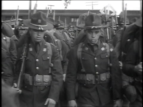 troops marching past railroad cars / troops marching with flags - plattsburgh stock videos and b-roll footage
