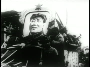 troops moving thru streets with large portrait of chairman mao / educational - 1949 stock videos & royalty-free footage