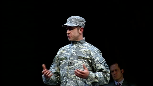 Troops to be deployed in Afghanistan taken to theatre to see The Great Game Nicolas Kent interview SOT Daniel Betts on stage speaking the words of...