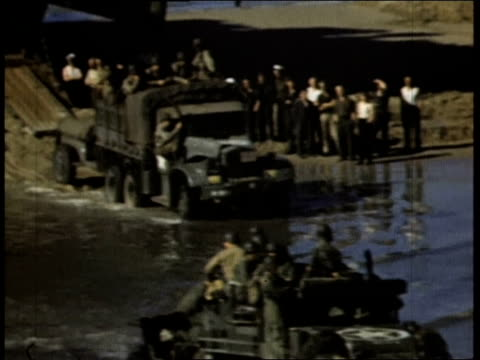 troops unloading tanks from ships / normandy, france - 1944 stock videos & royalty-free footage