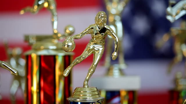 Trophies with American Flag background
